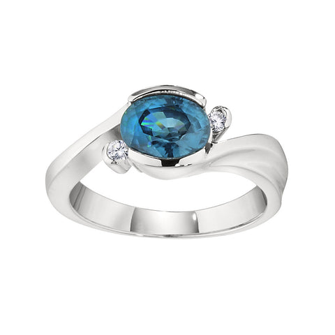 Modern Blue Zircon Ring, Modern December Birthstone Jewelry, East West Split By Pass Ring