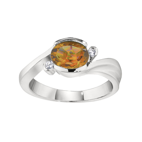Modern Citrine Ring, Modern November Birthstone Jewelry, East West Split By Pass Ring