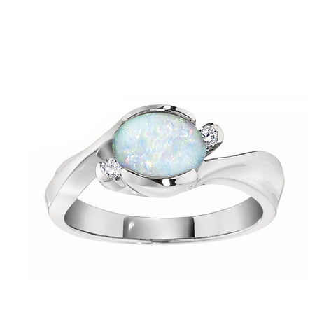 Modern Opal Ring, Modern October Birthstone Jewelry, East West Split By Pass Ring