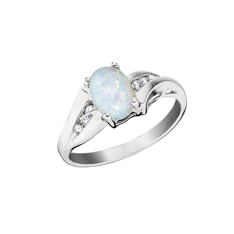 Opal and Diamond Ring with Channel Set Diamonds and a Bypass