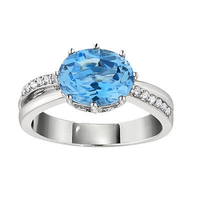 contemporary blue topaz ring, blue topaz and diamond ring, large blue topaz ring