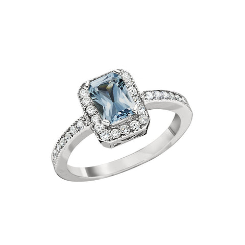 March Birthstone, Aquamarine Halo Ring, Aquamarine ring with diamonds around it
