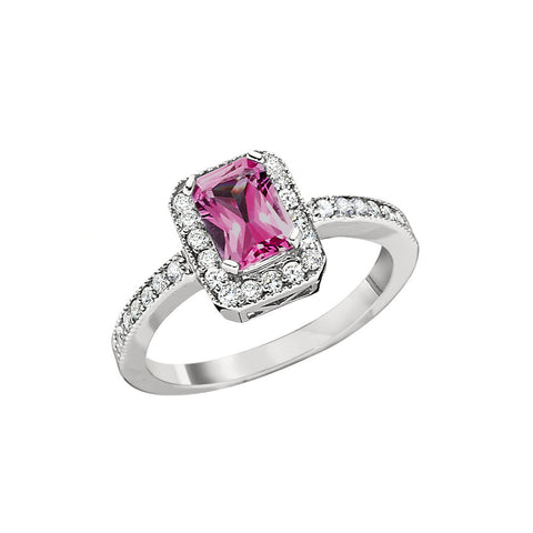 October Birthstone, Pink Tourmaline Halo Ring, pink tourmaline ring with diamonds around it