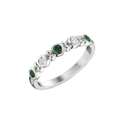 modern wedding rings, emerald and sapphire wedding rings, may birthstone jewelry, emerald birthstone