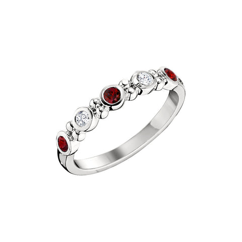 Ruby and Diamond Bezel Set Wedding Band