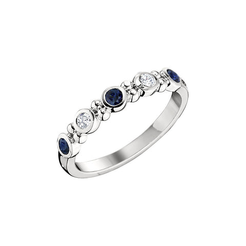Sapphire and Diamond Bezel Set Wedding Band