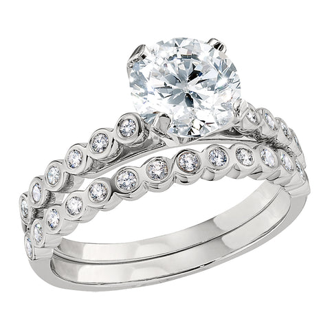 Petite Bezel Set Sides Engagement Ring and Wedding Band Set
