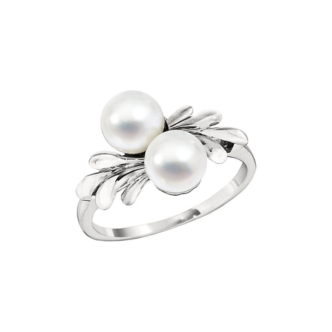 Ring with Two Cultured Pearls in 14K