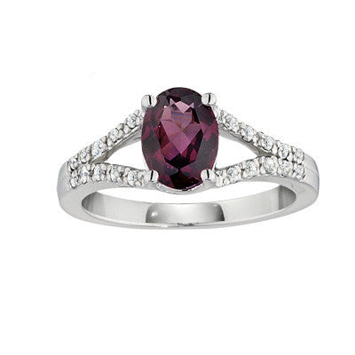 split shank ring, rhodolite ring, contemporary rhodolite ring, modern ring,