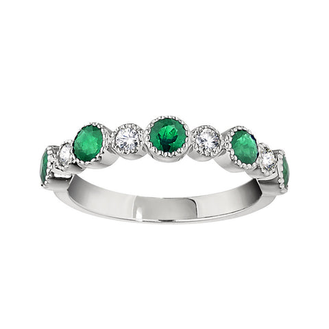 Emerald Wedding Rings, Gemstone Wedding Bands, vintage emerald and diamond band