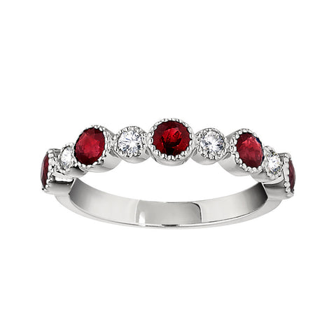 Ruby Wedding Rings, Gemstone Wedding Bands, vintage ruby and diamond band