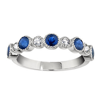 Sapphire Wedding Rings, Gemstone Wedding Bands, vintage sapphire diamond bands