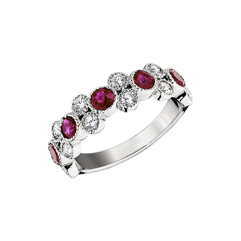 Ruby Wedding Rings, Gemstone Wedding Bands, stackable vintage ruby bands