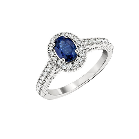 Vintage Style Sapphire and Diamond Halo Ring