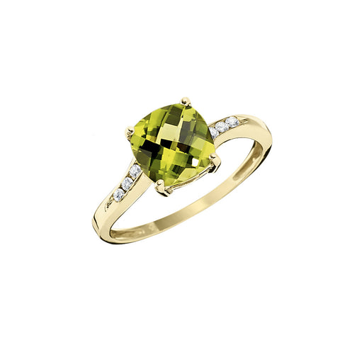Wavy Petite Square Peridot Ring with Diamonds