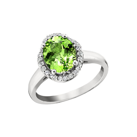 scalloped halo ring, peridot and diamond halo ring