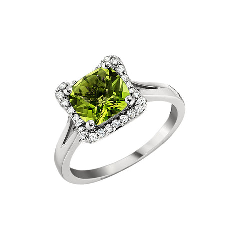 Peridot cushion halo ring, vintage style peridot halo ring, August birthstone halo ring