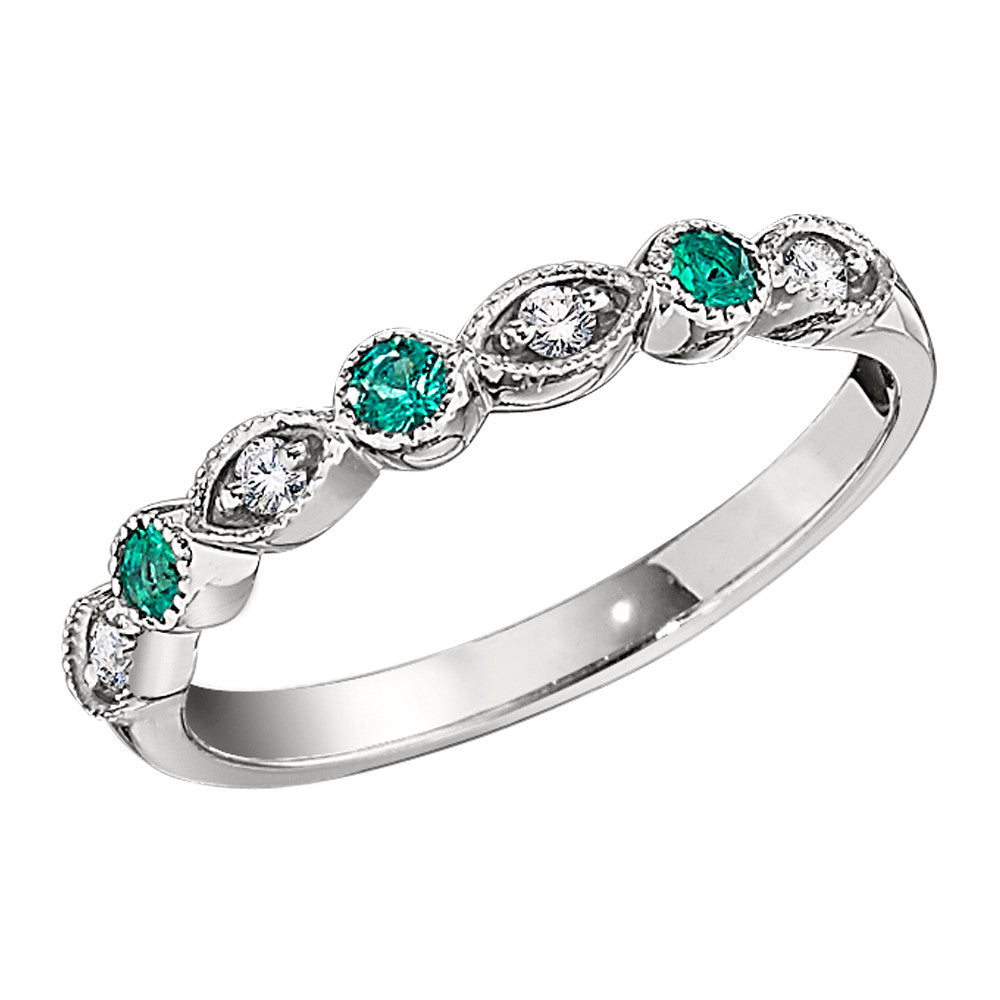 Vintage Style Wedding Rings | Vintage Style Diamond And Emerald Wedding Band With Millgrain