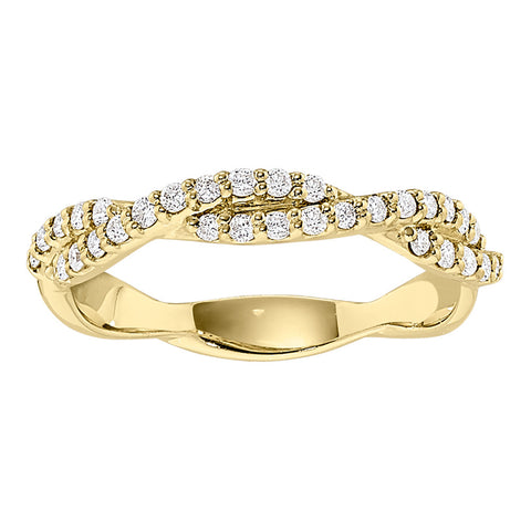 Twist Bead Set Diamond Wedding Band in 14K Yellow Gold