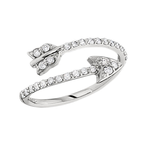 Bead Set Diamond Arrow Ring