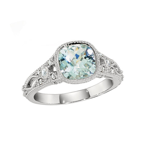 March Birthstone, Aquamarine Ring, Vintage Engagement Rings