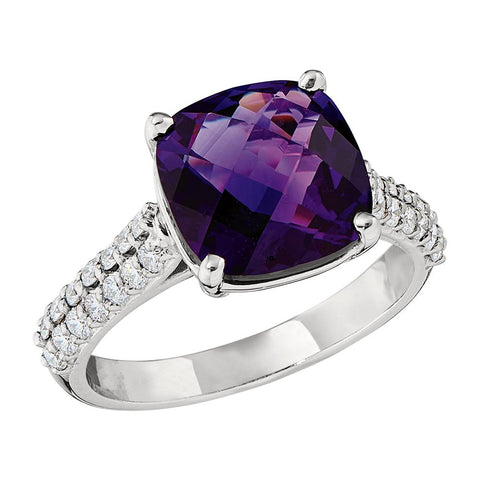Large Cushion Checkerboard Amethyst Ring with Double Diamond Shank