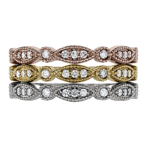 old fashion diamond rings, intricate diamond bands, vintage stackable diamond bands, romantic wedding bands