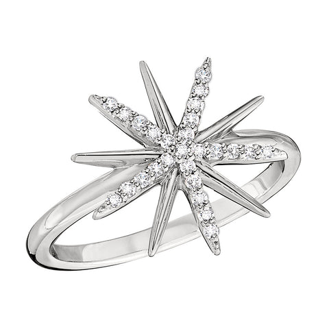 Starburst Ring With White Sparking Diamonds in 14K Gold