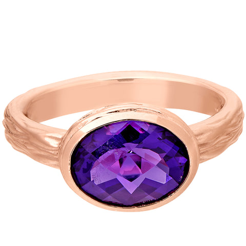 Large Amethyst Oval Bezel Ring shown in Pink Gold