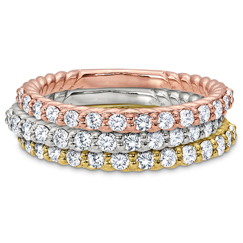 Stackable Rope Edge Bead Set Wedding Bands in White, Pink, and Yellow