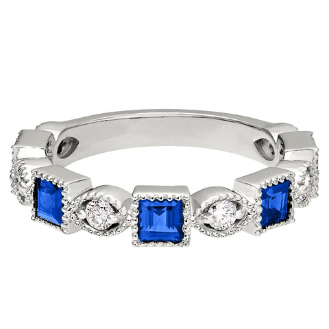 Square Sapphire and Diamond Vintage Wedding Band