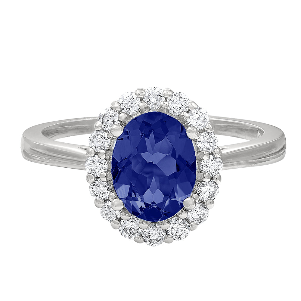 Oval Sapphire And Diamond Halo Ring In Princess Diana Style Bella S Fine Jewelers
