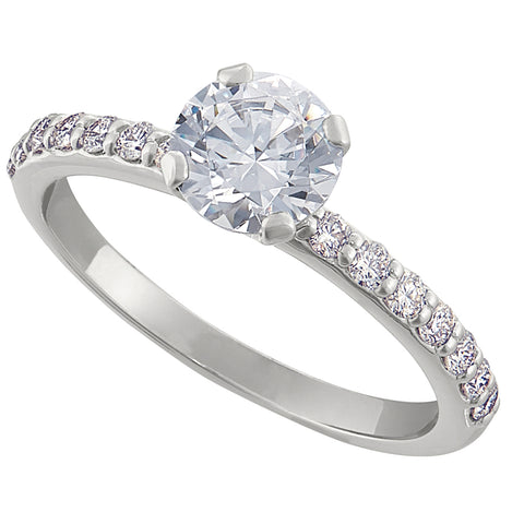 Classic Common Prong Engagement Ring with .02CT Diamonds