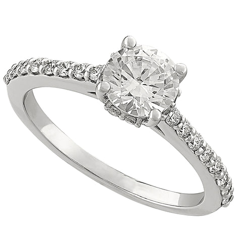 diamond halo around diamond, classic diamond engagement rings, diamond engagement ring with diamonds in the band