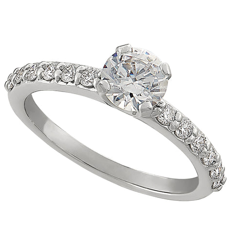 Classic Common Prong Engagement Ring with .03CT Diamonds