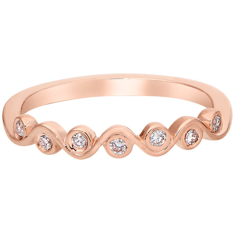 Stackable Bezel Set Diamond Bands in Rose, White, and Yellow Gold