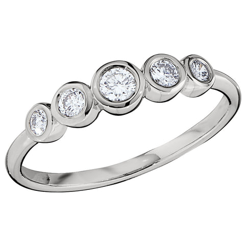 Five Stone Bezel Set Diamond Ring