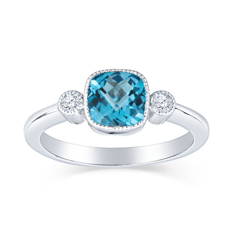 Antique Inspired 6MM Cushion Cut and Diamond Ring-Petite