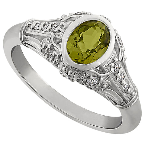 Vintage Peridot Ring, Fancy peridot antique ring