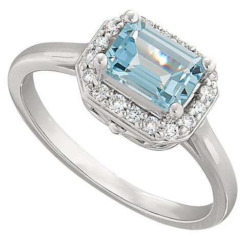 Sideways emerald cut ring, sideways halo ring, east west aquamarine ring, east west halo ring