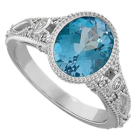 Swiss Blue Topaz Antique Style Ring with Bezel setting and millgraining