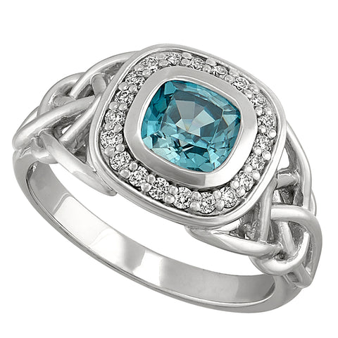 Halo Style Celtic Knot Blue Zircon Ring with Full Bezel Setting