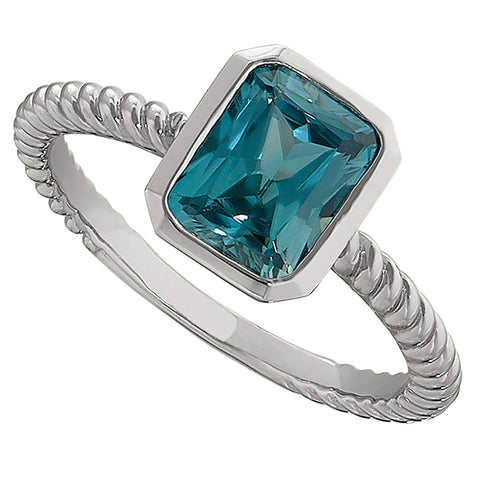 modern blue zircon braided rings