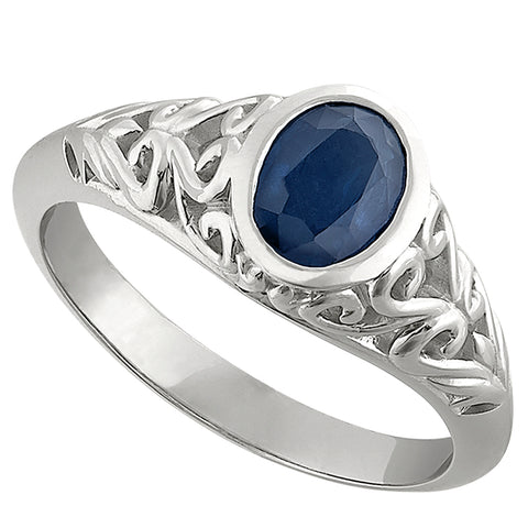 scroll sapphire ring with bezel