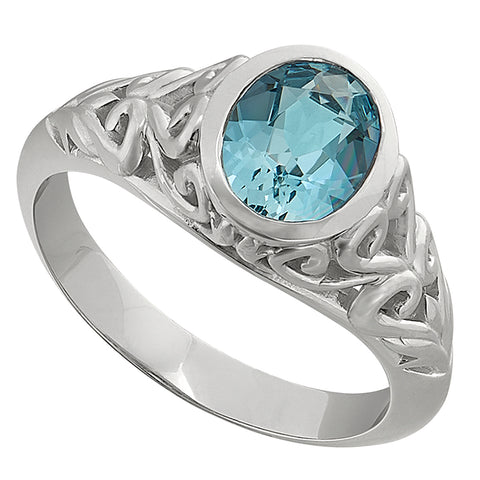 Vintage Filigree Bezel Aquamarine Ring - Medium