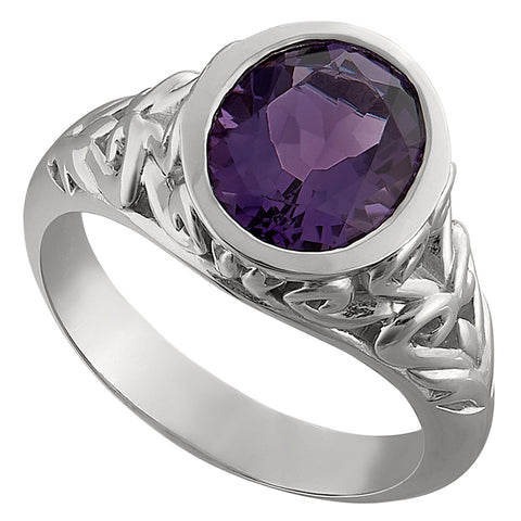 vintage scroll bezel amethyst ring
