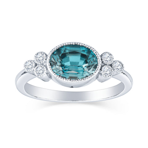 Antique Inspired Blue Zircon and Diamond Ring