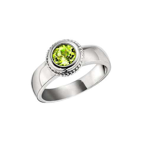 August Birthstone, Peridot Halo Ring