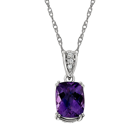 Amethyst and Diamond Pendant in 14K white Gold