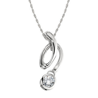April Birthstone, modern diamond pendant, squiggle diamond pendant